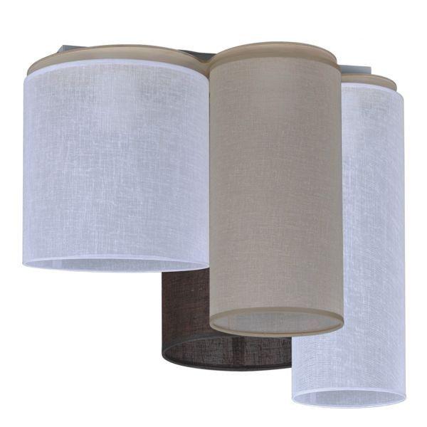 lampa sufitowa z abażurami o różnej wysokości, odcienie brązu, nowoczesna