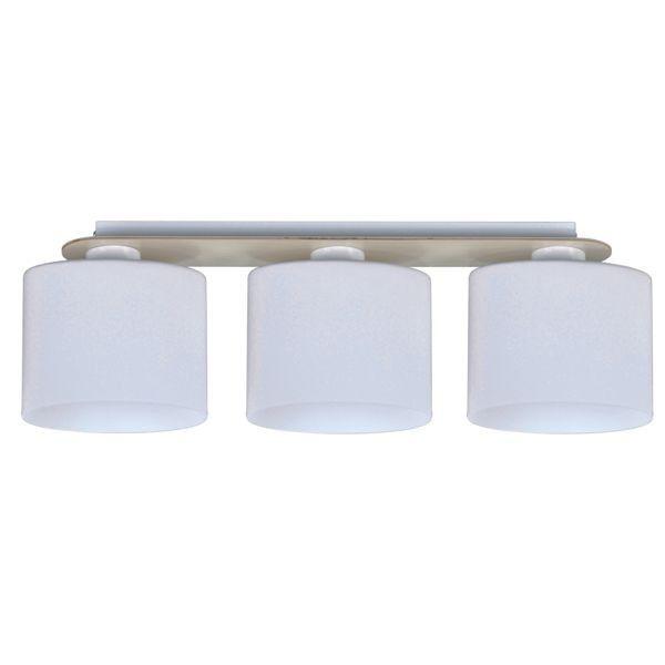 biała lampa sufitowa, trzy klosze na poziomej belce