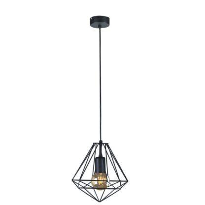 druciana lampa czarna w kształcie diamentu