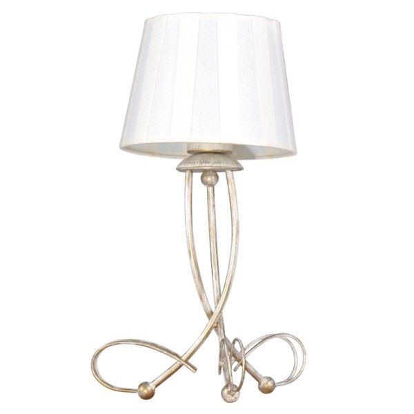 złota lampa stołowa z białym abażurem w pasy