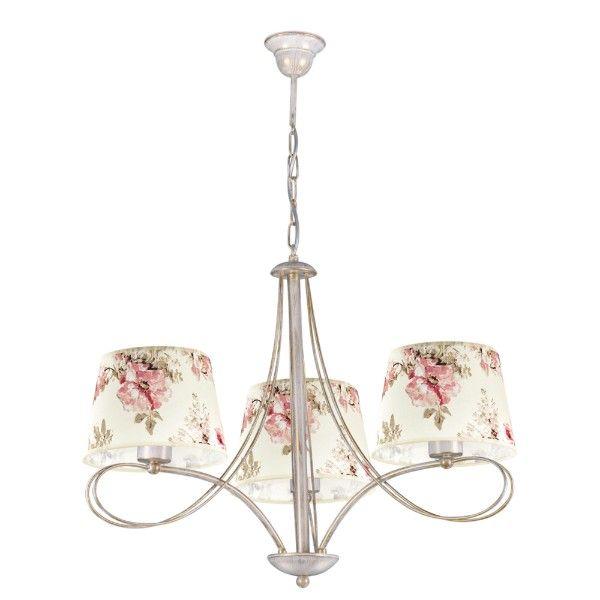 elegancki żyrandol z beżowymi abażurami w róże