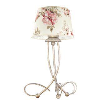 Romantyczna lampa stołowa Amanti - złota baza, abażur w róże