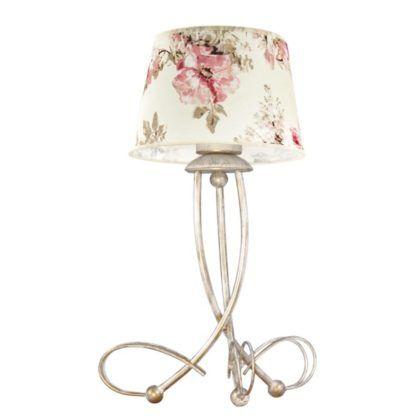 złota lampa stołowa z beżowym abażurem w kwiaty