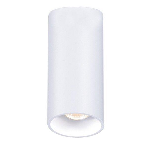 biała, nowoczesna lampa sufitowa, tuba
