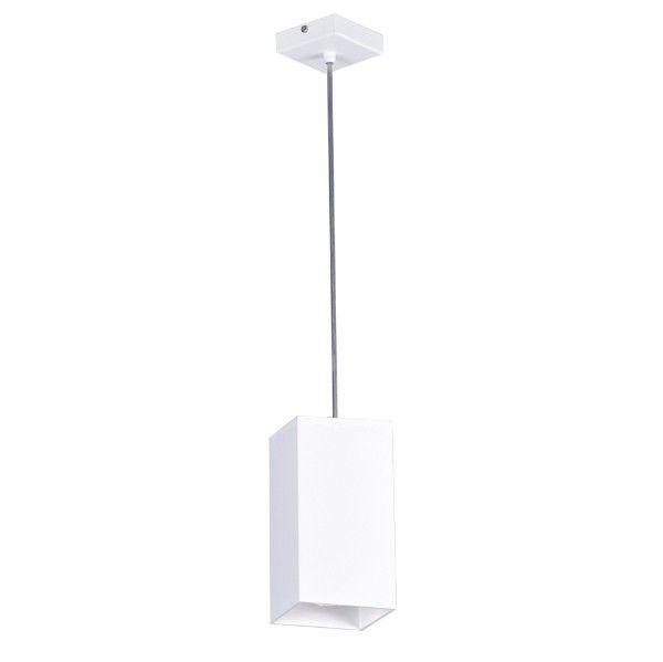 prostokątna lampa wisząca, biała tuba