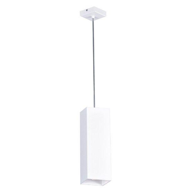 prostokątna lampa wisząca, biały klosz