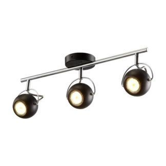 Czarna lampa sufitowa Kula - trzy klosze na srebrnej belce, nowoczesna
