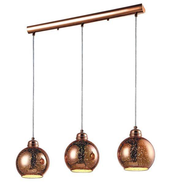 lampa wisząca z kloszami w kształcie kul, szkło w kolorze miedzi