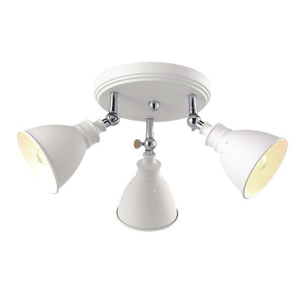metalowa, biała lampa sufitowa z trzema reflektorami, okrągła podstawa
