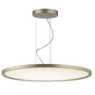Stylowa lampa wisząca Dipper - płaski, okrągły klosz, szampański odcień