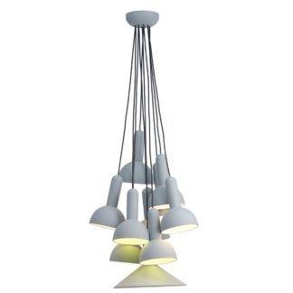 Ciekawa lampa wisząca Santos - 10 kloszy, różne długości, kształty, styl nowoczesny