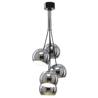 Srebrna lampa wisząca Mamia - 5 kloszy, chrom