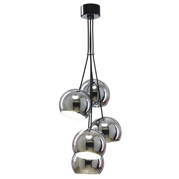 oryginalna lampa wisząca, klosze kule na jednym zawieszeniu, chrom w połysku