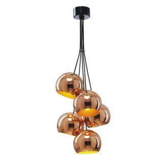 miedziana lampa wisząca, klosze kule, nowoczesna
