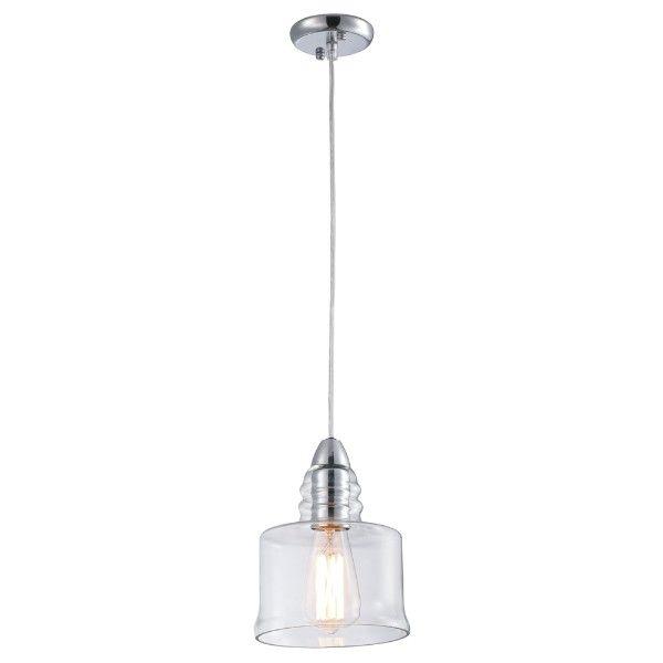 Lampa wisząca Lavi - szklany klosz, srebrna