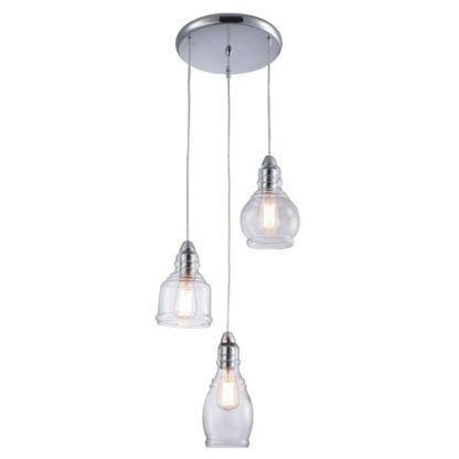 Potrójna lampa wisząca Lavi - szklane klosze, różne kształty