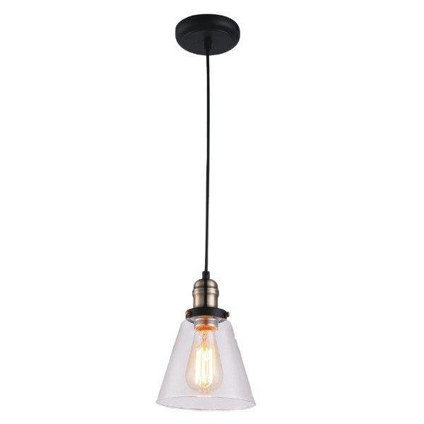 Industrialna lampa wisząca Samanta - szklany, bezbarwny klosz