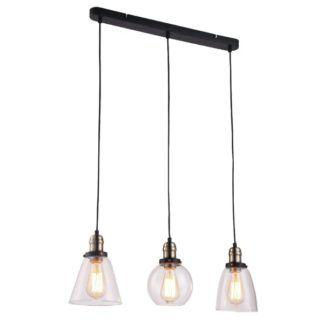 Lampa wisząca Samanta - 3 szklane klosze, industrialna