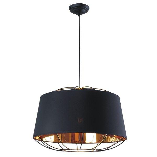 Czarna lampa wisząca Pandora - złote wnętrze, nowoczesna