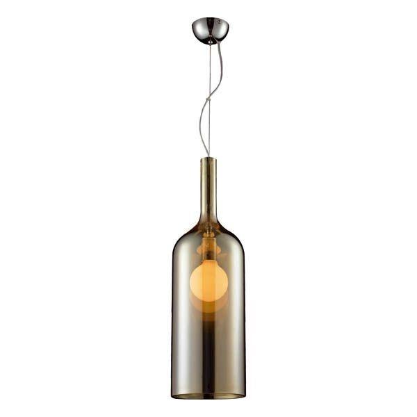 szklana lampa wisząca, nowoczesna, kształt butelki