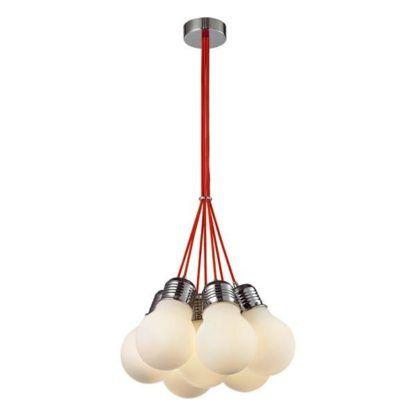 nowoczesna lampa wisząca klosze w kształcie żarówek na czerwonym zawieszeniu