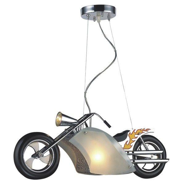 lampa wisząca do pokoju chłopca, motocykl