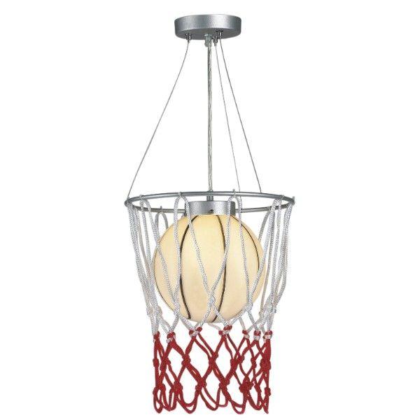 lampa wisząca do pokoju małego sportowca, lampa w kształcie piłki do kosza