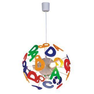 Okrągła lampa wisząca Literki - kolorowy klosz, pokój dziecięcy