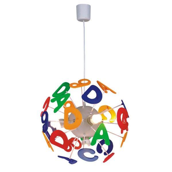 kolorowa lampa wisząca w literki