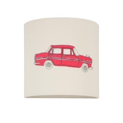 Beżowy kinkiet Young - materiałowy abażur z samochodem