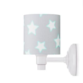 Biały kinkiet Stars - bawełniany abażur, szary w białe gwiazdki