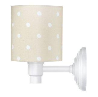 Beżowy kinkiet Lovely Dots - biała podstawa, bawełniany abażur