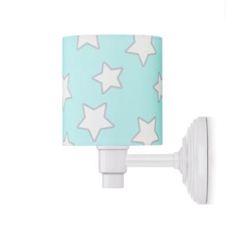 Biały kinkiet Stars - niebieski abażur w gwiazdki