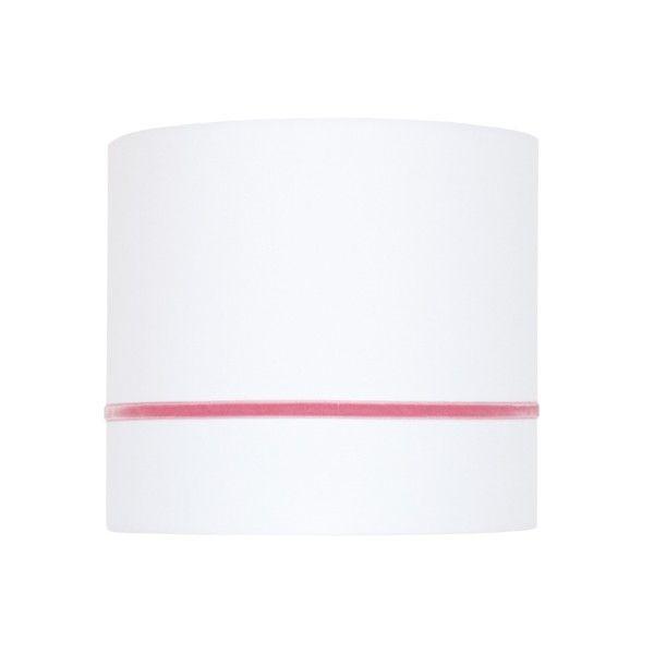 Bawełniany kinkiet Elegance - biały abażur z różową tasiemką