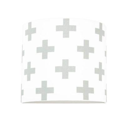 Biały kinkiet Young - abażur w szare krzyżyki