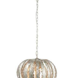 Oryginalna lampa wisząca Delphine - srebrna, klosz z metalowych liści