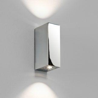 Mały kinkiet Bloc - srebrny prostokąt, LED, IP44