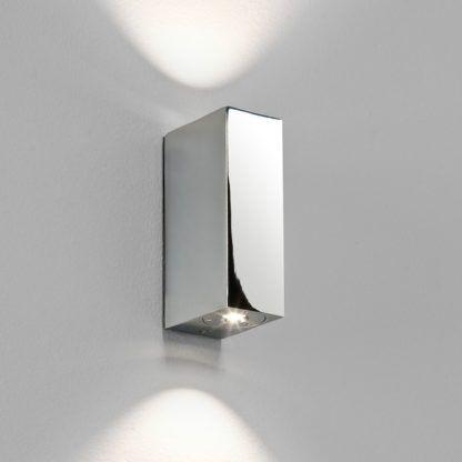 Mały kinkiet Bloc - srebrny prostokątny