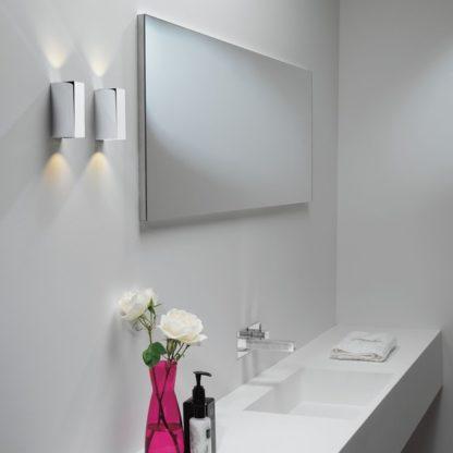 Mały kinkiet Bloc - srebrny prostokątny - do łazienki