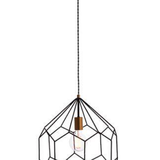 Metalowa lampa wisząca Deco - czarna, geometryczna