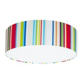 Okrągły plafon Young - abażur w pionowe, kolorowe paski