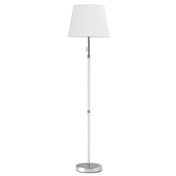 Stylowa lampa podłogowa Venice - biały abażur, polerowany chrom