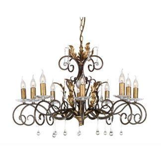 Luksusowy żyrandol Amarilli - brązowo-złoty, 10 świeczników