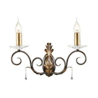 Klasyczny kinkiet Amarilli - dwa świeczniki, złoto-brązowe wykończenie