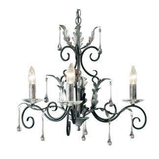 Nieduży żyrandol Amarilli - srebrne świecnziki, czarna baza, klasyczny