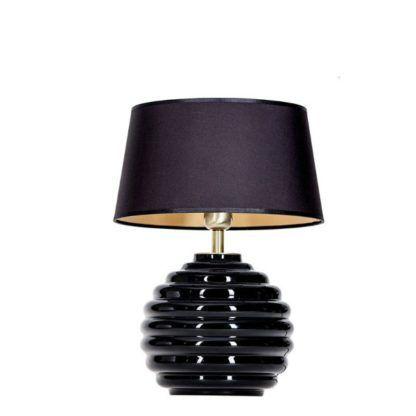 Czarna lampa stołowa Antibes - kulista podstawa ze szkła, czarny abażur