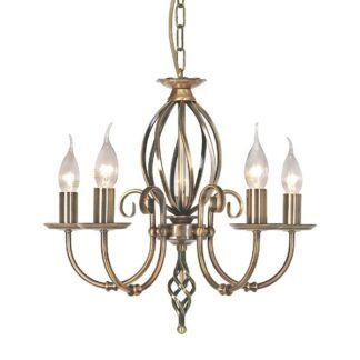 Klasyczny żyrandol Rustic - 5 świeczników, kute detale, złoty