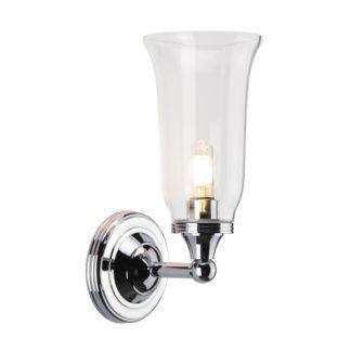 Elegancki kinkiet Newport - srebrna podstawa, szklany, transparentny klosz, IP44