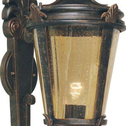 brązowy kinkiet zewnętrzny bursztynowe szkło