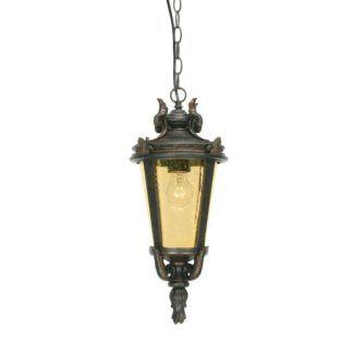Brązowa lampa wisząca Baltimore - szklany klosz, IP44